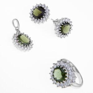 Sada šperků s vltavínem - náúšnice, prsten, přívěšek