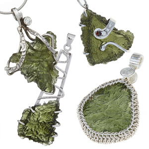 Natural moldavite pendants