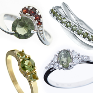 Cut moldavite rings